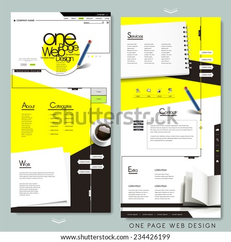 one page website template design with stationery concept  - stock vector