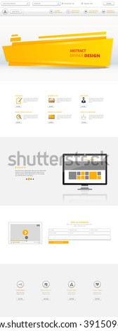 One Page Website Template, orange and white color  - stock vector