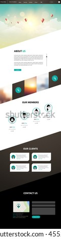 One Page Website Template Vector Eps10, Modern Web Design with flat UI elements, and abstract cloudscape headline. Ideal for Business layout   - stock vector