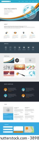 One Page Website Template Vector Eps10, Modern Web Design with flat UI elements and header illustration. Ideal for Business layout.