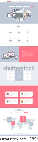 One Page Website Template Vector Eps10, Modern Web Design with flat UI elements and top view of workplace illustration. Ideal for Business layout.