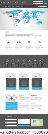 One Page Website Template Vector Eps10, Modern Web Design with flat UI elements. Ideal for Business layout.  - stock vector