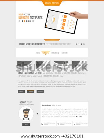 One Page Website Template Vector Eps10, Modern Web Design with flat UI elements. Ideal for Business layout - stock vector
