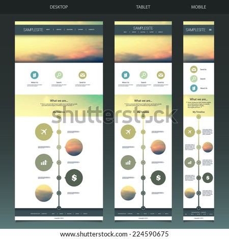 One Page Website Template with Blurred Background - Sunset Pattern Header Design - Desktop, Tablet, Mobile Version - stock vector
