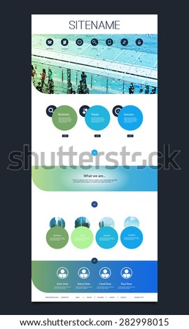 One Page Website Template with Header Design - stock vector