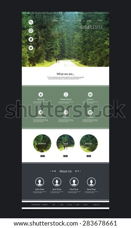 One Page Website Template with Header Design - Green Forest - stock vector