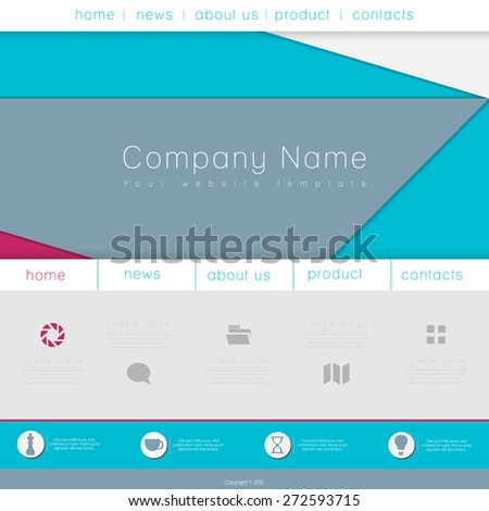 One Page Website Template with Material Design Background - stock vector