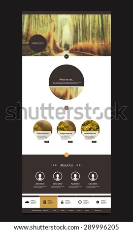 One Page Website Template with Nice Header Design - Bamboo Forest - stock vector