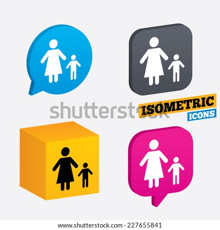 One-parent family with one child sign icon. Mother with son symbol. Isometric speech bubbles and cube. Rotated icons with edges. Vector - stock vector