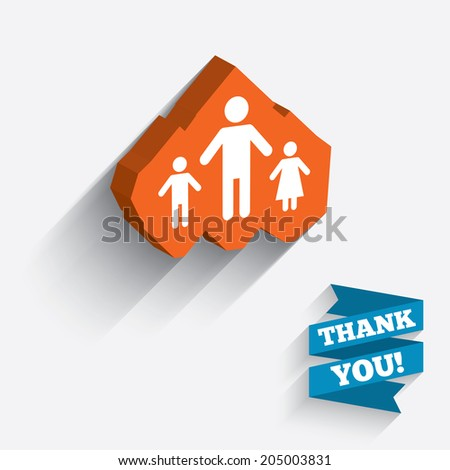 One-parent family with two children sign icon. Father with son and daughter symbol. White icon on orange 3D piece of wall. Carved in stone with long flat shadow. Vector - stock vector