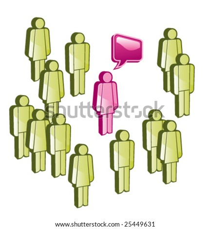 one person from group of people has  his own opnion - stock vector