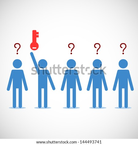 One person getting the key while other have questions. Abstract background. Vector illustration. - stock vector