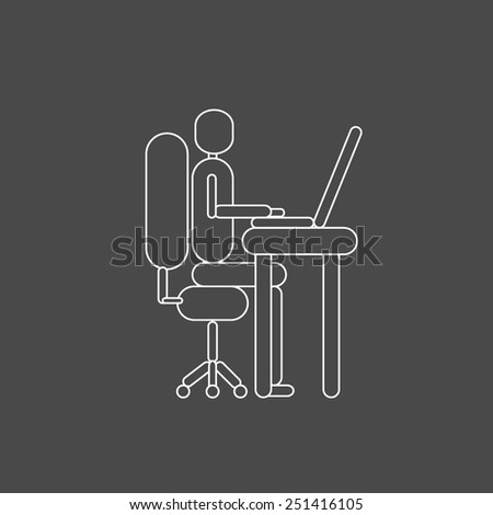 One person silhouette in white lines working with the computer on grey background vector - stock vector
