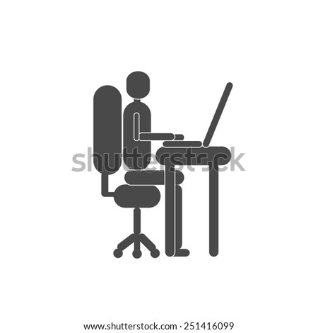 One person silhouette working with the computer vector