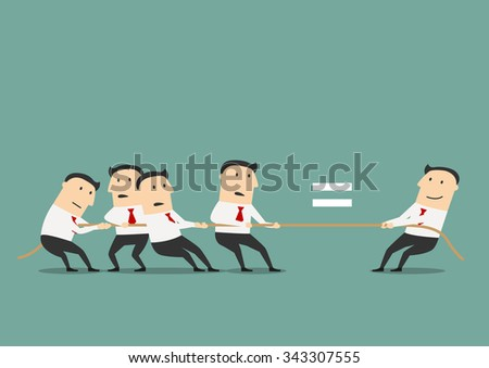 One qualified businessman or leader is equal to a group of ordinary businessmen, for human resources or leadership concept design. Cartoon style - stock vector