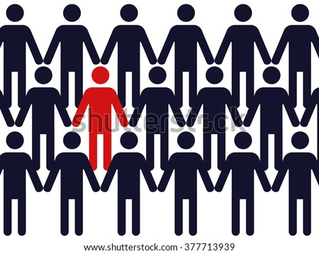 one red colored symbol of a man in a crowd of identical blue figures - stock vector