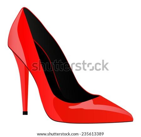 One red high heels shoe - vector drawing - stock vector