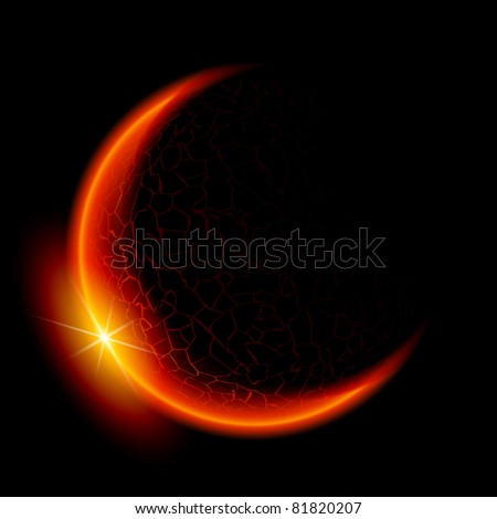 One red planet in deep space. Black space. Yellow Sunset. - stock vector