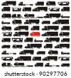 One red truck pinpointed among many black cargo carrying vehicles - color vector illustration set - stock photo