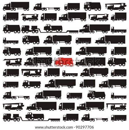 One red truck pinpointed among many black cargo carrying vehicles - color vector illustration set