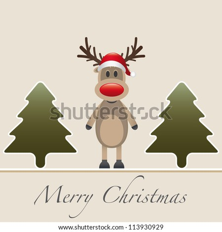 one reindeer red nose hat fir tree - stock vector