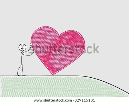 one sad man rolling a heart from hill, crosshatched image - stock vector