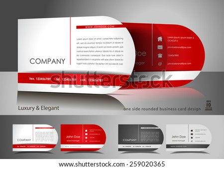 One side rounded light business card design - stock vector