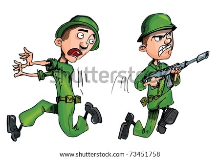 One soldier attacking and one running from the enemy - stock vector
