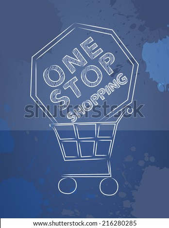 One stop shopping - vector illustration - stock vector