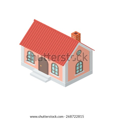 One-storey House with a Tiled Roof. Detailed Dimetric Illustration with Shadows Isolated on White Background - stock vector