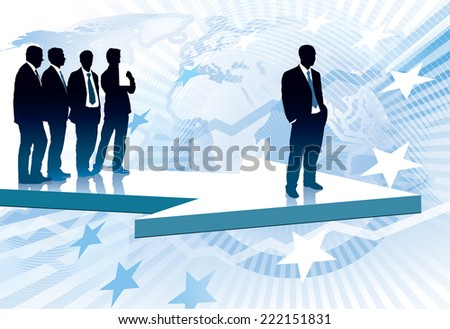 One successful businessman in front of group of his colleagues in suits. - stock vector