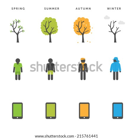 One tree, one man, one phone - spring, summer, autumn & winter -  change of seasons concept - stock vector