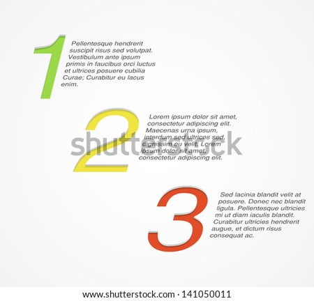 One Two Three background. Numbers and placeholders for text. Good for explaining step by step concept. EPS10 vector.