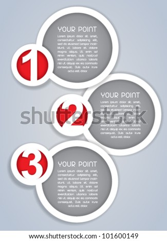 One, Two, Three, Circular progress labels in white - stock vector