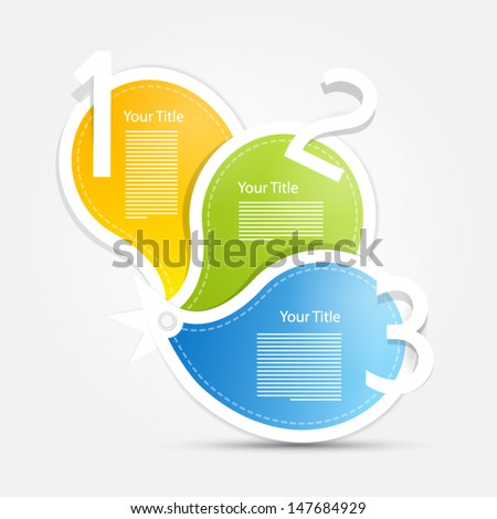 One, two, three, colorful vector paper progress steps for tutorial - infographics  - stock vector