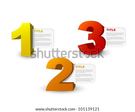 One two three - 3D vector progress icons for three  steps and their description - stock vector