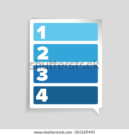 One two three four label - progress bar - stock vector