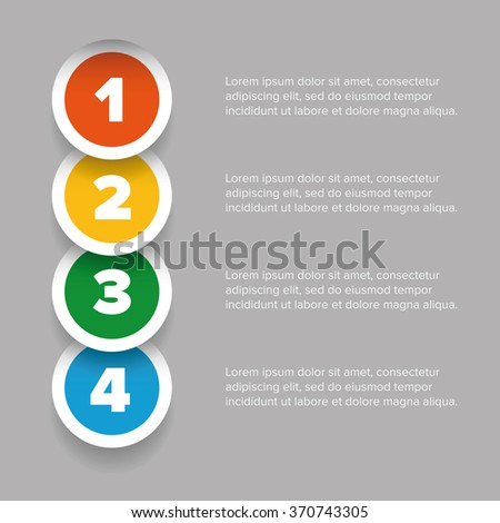 One two three four progress bar label - stock vector