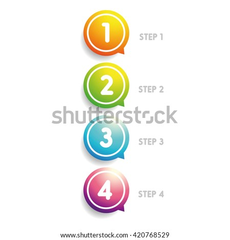 One two three four progress bar stickers - stock vector
