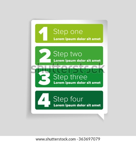 One two three four - progress steps vector - stock vector