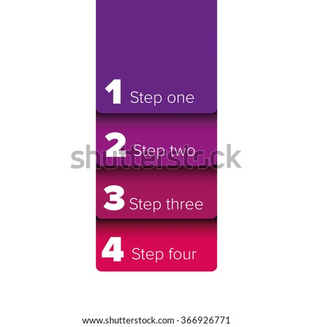 One two three four steps progress bar label - stock vector