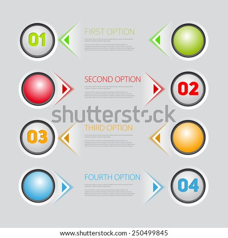 One two three four - vector button progress steps for tutorial - stock vector