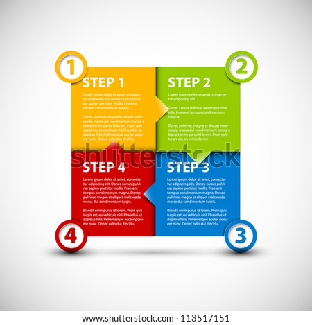 One two three four - vector paper progress steps for tutorial - stock vector