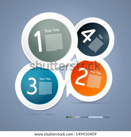 One, two, three, four, vector paper progress steps for tutorial - infographics