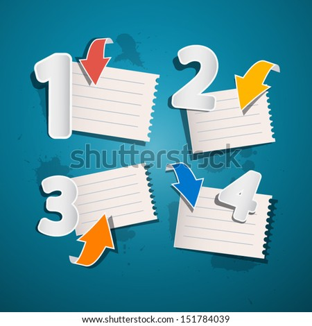 One, Two, Three, Four, Vector Paper Progress Steps for Tutorial, Infographics  - stock vector