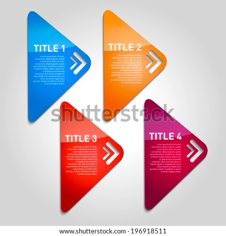 One two three four - vector progress triangle icons for four steps with arrows - stock vector