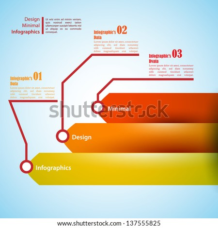 One, two, three infographics ribbons. Vector illustration for your business presentation