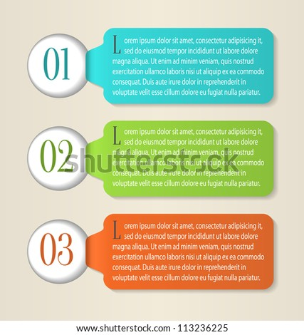 One, Two, Three paper progress labels. Vector - stock vector