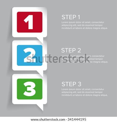 One two three - progress steps vector - stock vector
