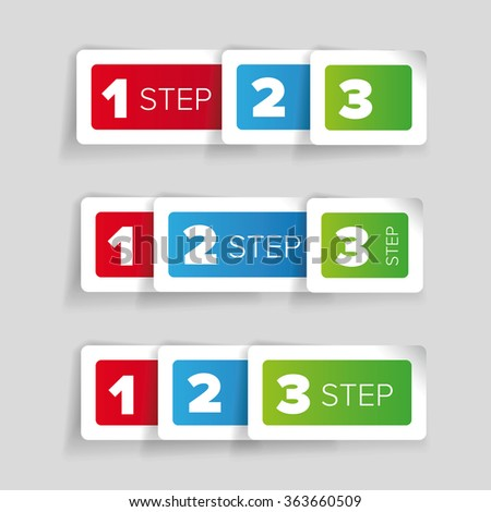 One two three - progress steps vector label - stock vector